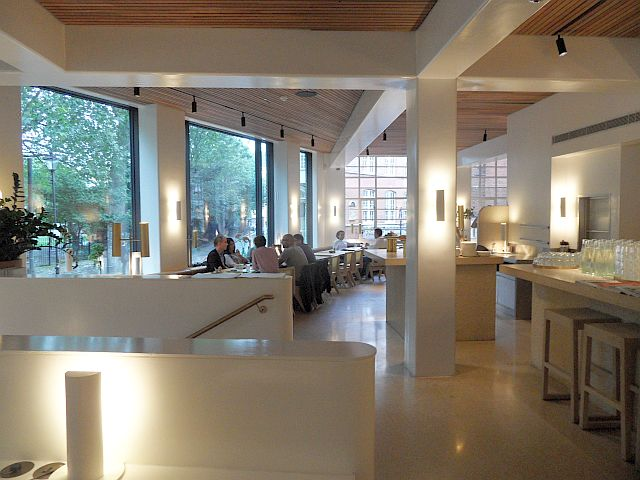 Breakfast time at Granger & Co Clerkenwell showing the light and airy interior