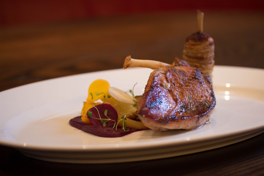 aa Poached and roasted Yorkshire hen pheasant, Alba truffle stuffing, salt baked heritage carrots, spiced red cabbage purée, Bruichladdich whisky jus
