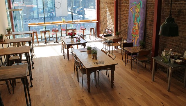 The very bright and cheerful cafe interior