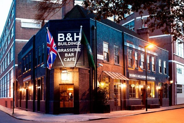 Exterior view of the Bourne & Hollingsworth bar/restaurant close to Exmouth Market