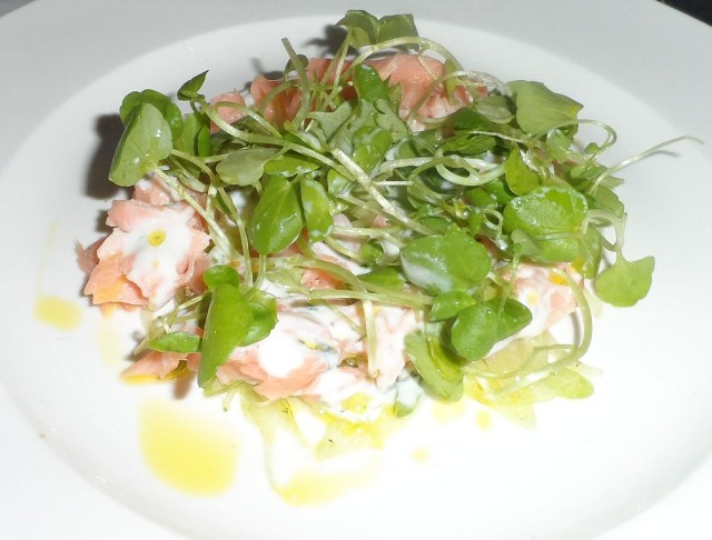 Poached salmon, fennel and lime salad with yogurt dressing as served at the Press preview