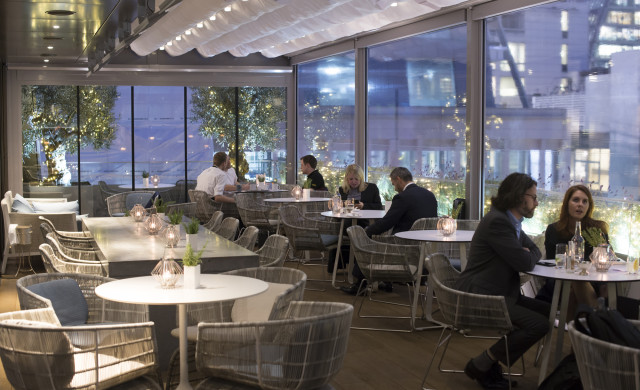 Angler's all-weather, all-season dining terrace