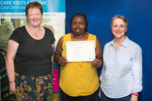 Bluebird Care Westminster.  L-R - Alison Soliman from the Margaret Butterworth Awards committee, care assistant Norma Nwango and Bluebird Care Westminster Registered Manager Beverley Smith.
