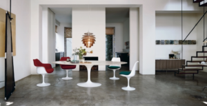 Above from top left: Tulip chairs and Saarinen Dining Table | Saarinen chairs and Saarinen Dining Table. Images are representational only.
